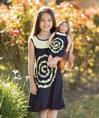 Navy & Citron Yellow Shelley Dress Dress & Doll Outfit - Kids & Tween