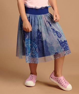 Blue Floral Tulle A-Line Skirt