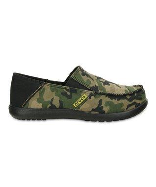 Army Green & Black Santa Cruz Camo Loafer - Kids