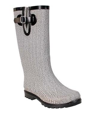 Gray & White Herringbone Puddles Rain Boot - Women