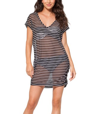 Black & White Semi-Sheer Cover-Up Tunic
