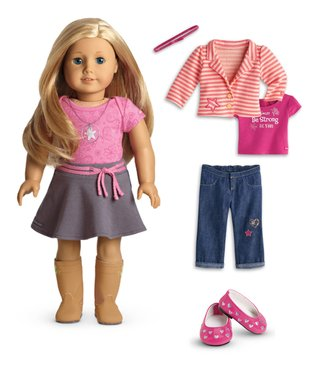 Light Skin, Layered Blonde Hair, Blue Eye 18'' Doll & Outfit Set