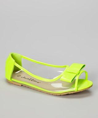 Lime & Clear Peep-Toe Flat