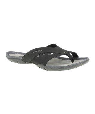 Black Flutter Wrap Leather Flip-Flop