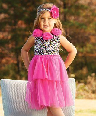 Hot Pink Leopard Rosette Dress - Infant & Toddler