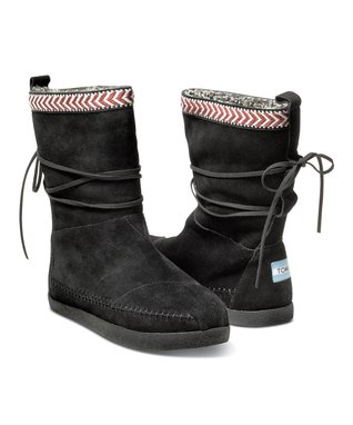 Black Suede-Trim Nepal Boot
