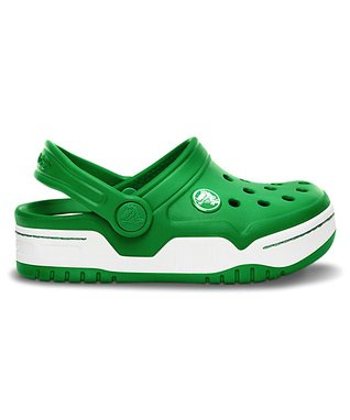 Kelly Green & White Front Court Clog - Kids