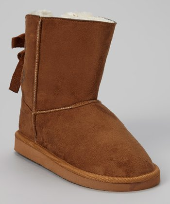 Tan Bow Boot - Kids