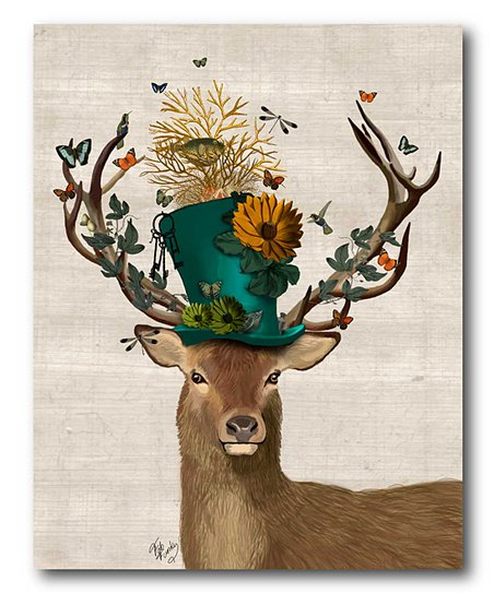 Mad Hatter deer art for the bathroom