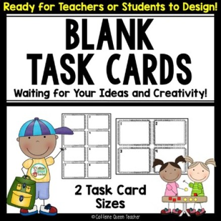 Blank Task Cards for All subjects - students write their own questions