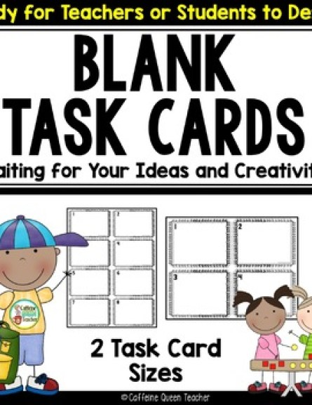 Blank Task Cards for All subjects - students write their own questions!
