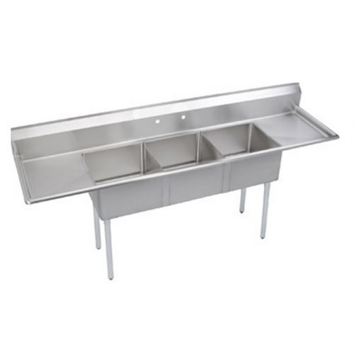 l j lj1216 3rl 12x16 inch 3 compartment stainless steel sink with right and left drainboard