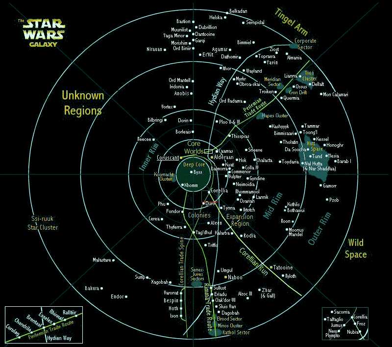La carte de la galaxie de Star Wars