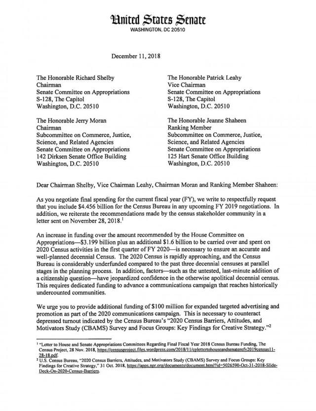 Letter to Senate Approps December 30, 30  Minnesota Council on