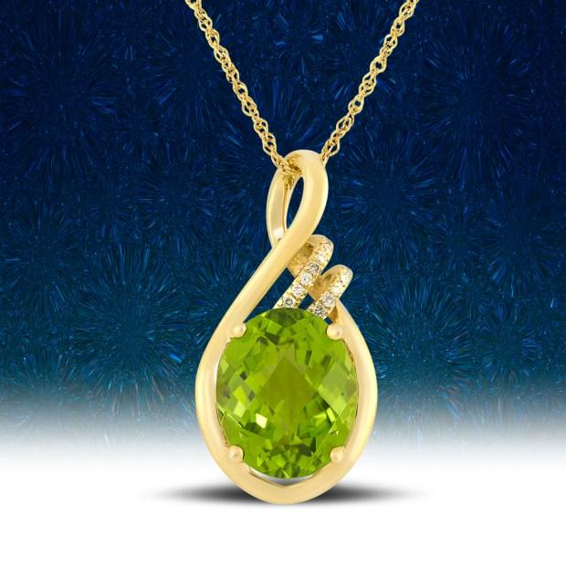 Yellow gold pendant with peridot and diamonds