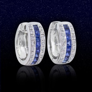 white gold huggie hoop earrings with princess cut sapphires and diamond side stones