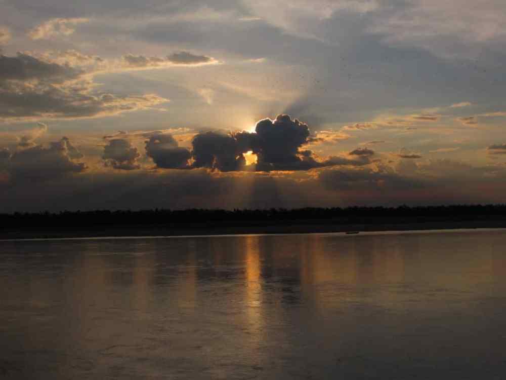 Coucher de soleil Mekong Cambodge
