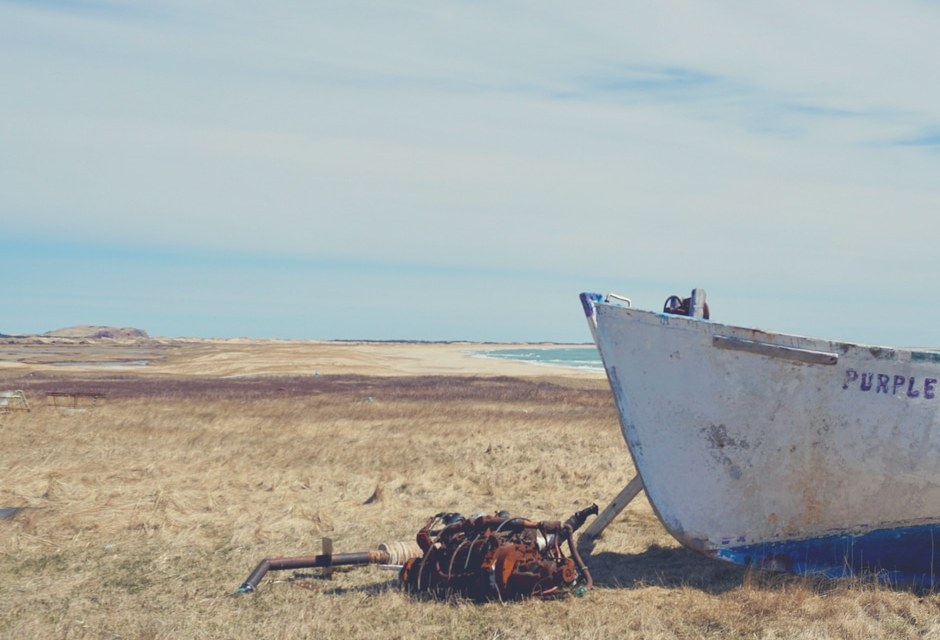 Bateau de pêche Iles de la Madeleine Purple Rain à la plage Old Harry tournée #tripauxiles
