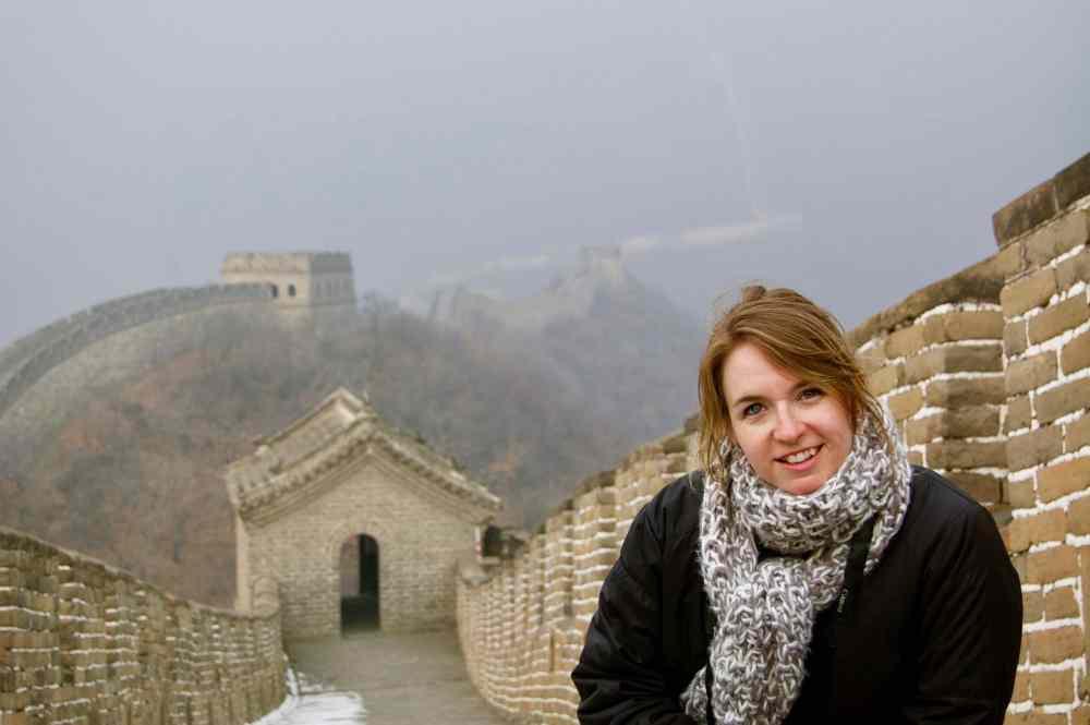 MC Globetrotteuse sur la Grande muraille de Chine en février 2014 sans touriste