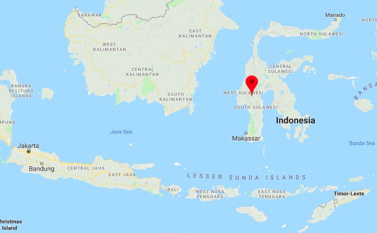 Carte Google indiquant la position de la région du Toraja sur Sulawesi