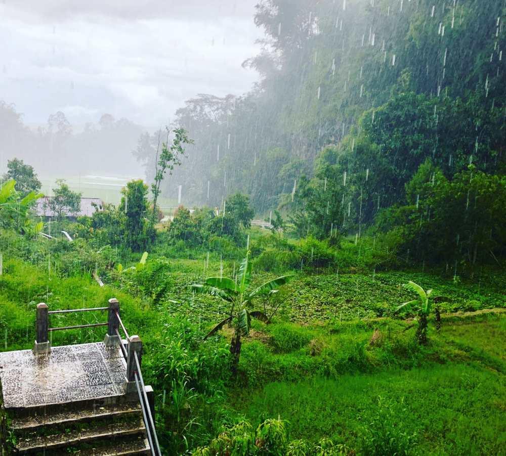 En Indonésie en saison des pluies, il pleut intensément. Il faut savoir composer avec dame nature lors des visites