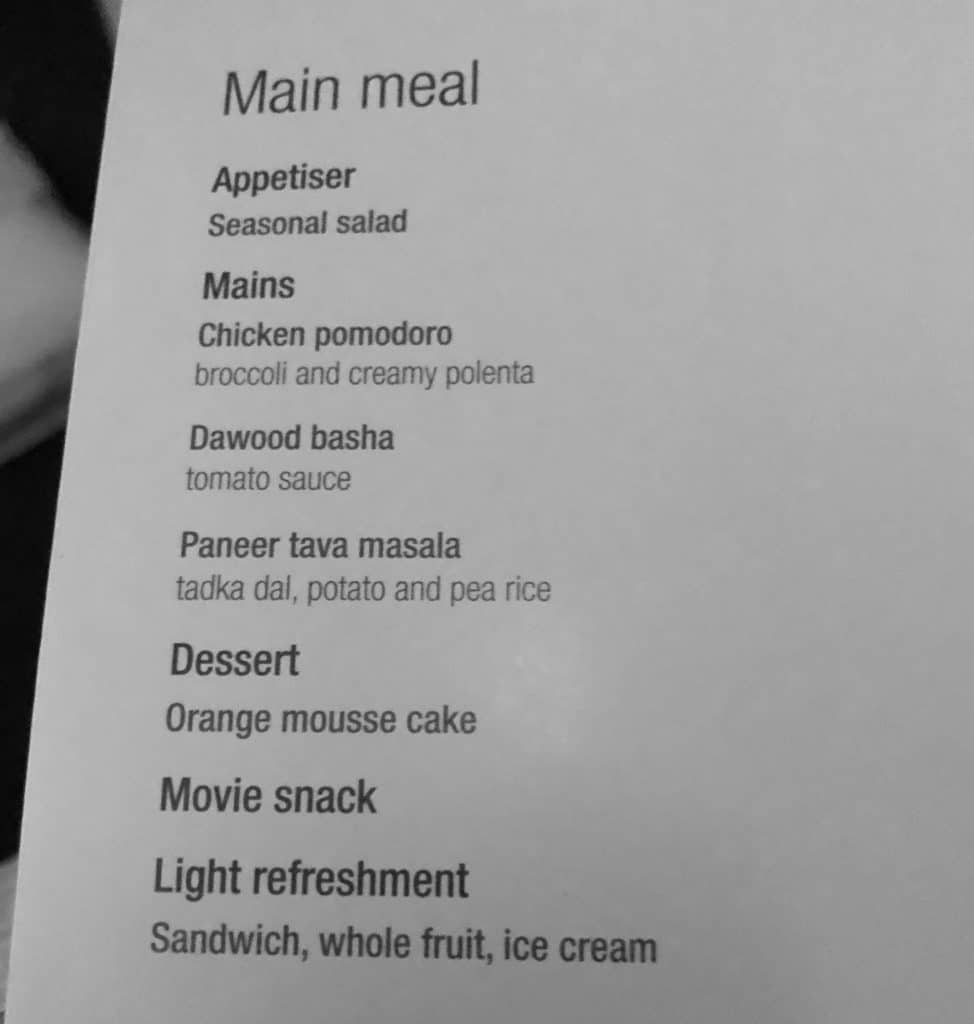 Menu à bord de Qatar Airways en classe économique