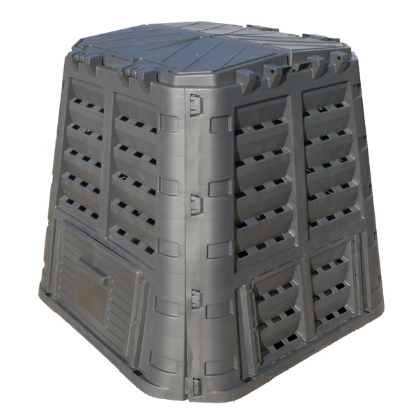 Komposztáló láda, 650 liter, műanyag; UV-álló, lakatolható, fagyálló, fekete