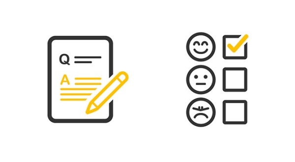graphic showing multiple choice boxes with frowny, smiley and neutral emoji faces