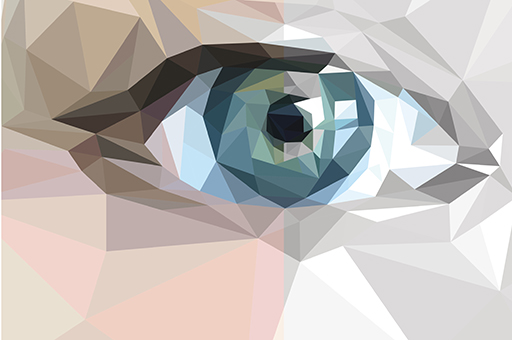 polygons form the shape of an eye, half in color, half in black and white