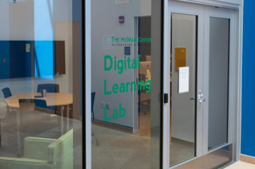 The Digital Learning Lab has spaces for student collaboration.