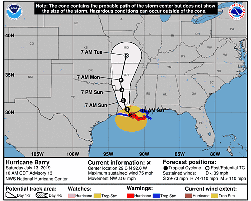 Tropical Depression Barry 5-Day Uncertainty Track Image