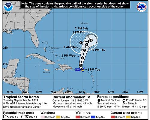 Tropical Storm Karen 5-Day Uncertainty Track Image