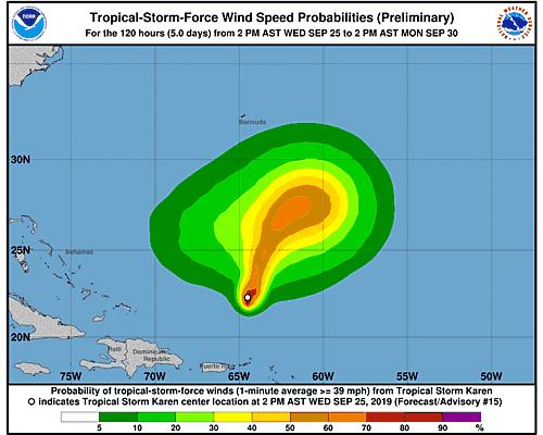 Tropical Storm Karen 34-Knot Wind Speed Probabilities