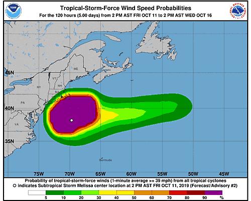 Subtropical Storm Melissa 34-Knot Wind Speed Probabilities