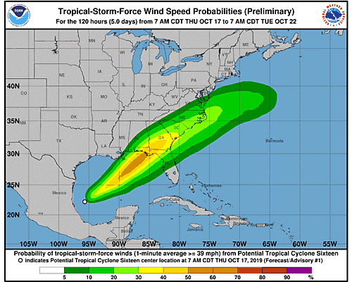 Tropical Storm Nestor 34-Knot Wind Speed Probabilities