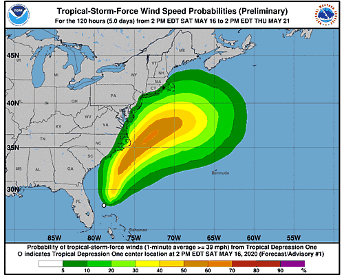 Tropical Depression One 34-Knot Wind Speed Probabilities