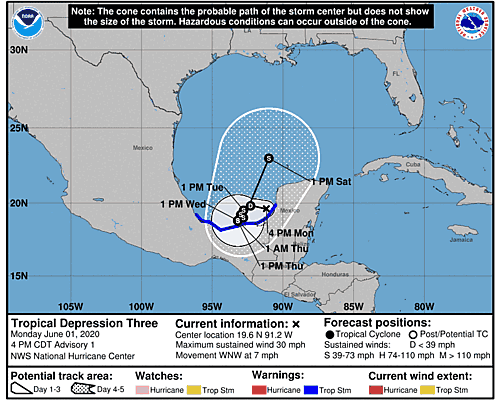 Tropical Storm Cristobal 5-Day Uncertainty Track Image