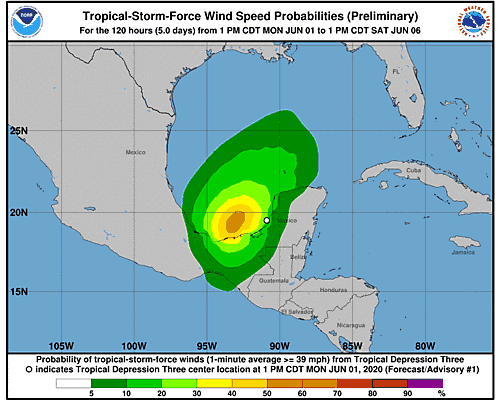 Tropical Depression Three 34-Knot Wind Speed Probabilities