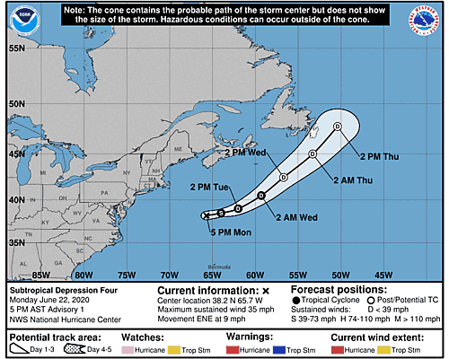 Subtropical Depression Four 5-Day Uncertainty Track Image