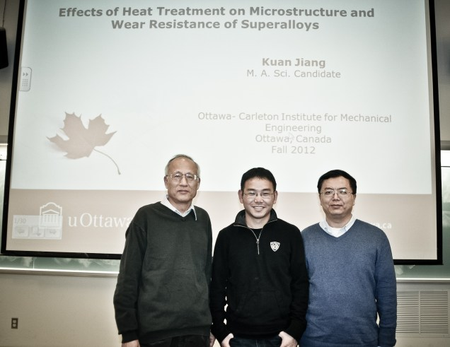 Kuan Jiang with supervisors Dr. Liang and Dr. Chen.