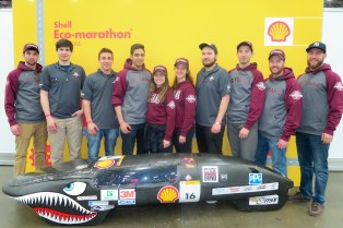 The Jaws II, race number 16, a Prototype vehicle running on gasoline for team Supermileage Ottawa from University of Ottawa in Ottawa, Ontario, during Day 3 of the Shell Eco-marathon Americas, Saturday, April 23, 2016, in Detroit. (Photo by Shell International)