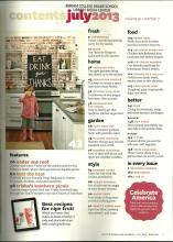 Better Homes & Gardens July 2013 Volume 91 Number 7 Table of Contents