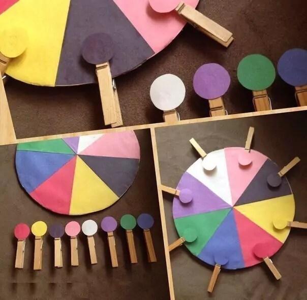 Помогаем выучить цвета с помощью подбора прищепок
