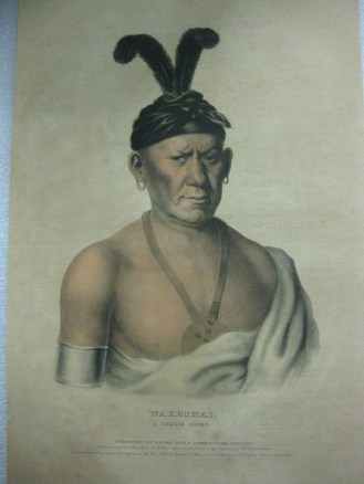 (Object ID: 2015.10.1) Native American Lithograph of Wake Chai, a Saukie Chief