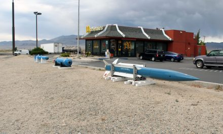 Torpedo, missiles on display at Hawthorne McDonald's