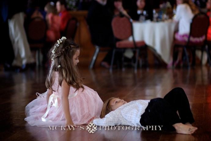 Vintage Wedding Dress and children playing at wedding
