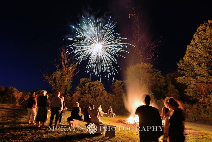 fireworks and bonfire at backyard wedding in Bristol NY