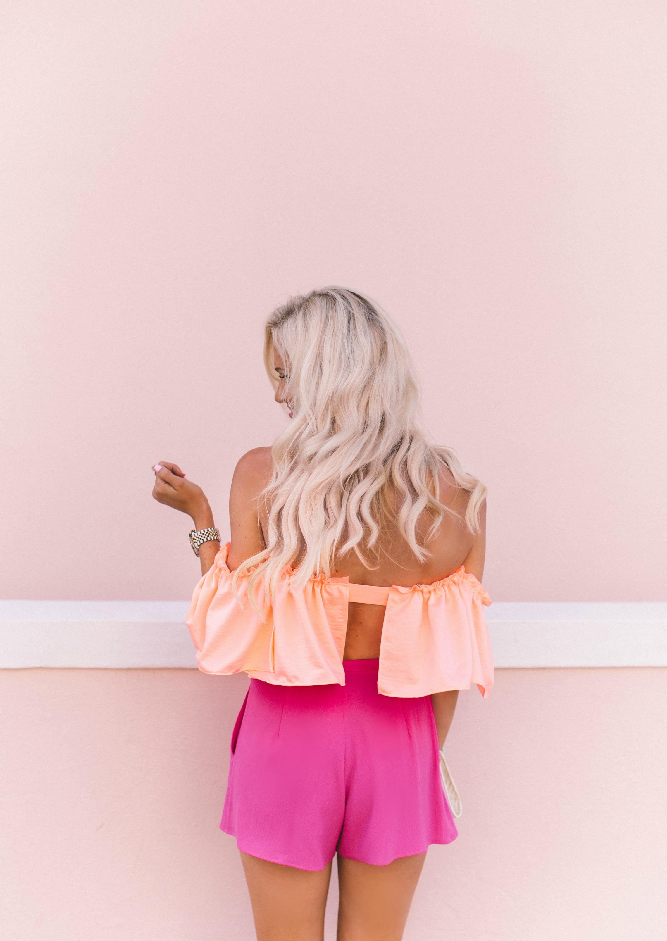Coral Off The Shoulder Ruffled Top Hot Pink Shorts