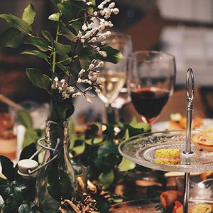 Wine and decorations at holiday party - Wine-and-decorations-at-holiday-party