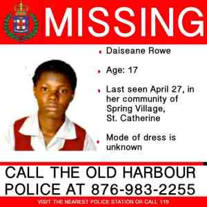 17-year-old Daiseana Rowe Missing from St Catherine